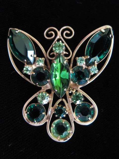 Vintage Shades of Green Rhinestone Butterfly Figural Brooch Pin ~ 50% OFF!