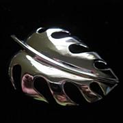 Vintage Trifari  Silver Tone Leaf Figural Brooch Pin ~ 1/2 OFF!