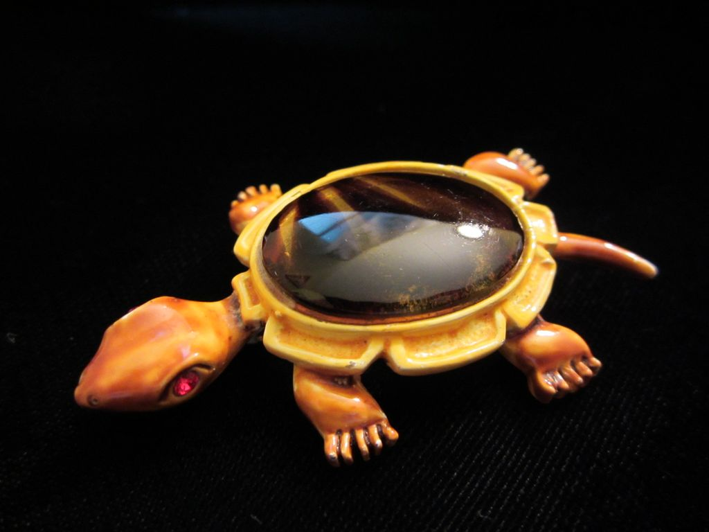 Vintage Enamel and Faux Tortoise Shell Turtle Brooch Pin ~ SOLD to Jill MR