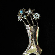 Vintage Rhinestone and Faux Pearl Lace Up Boot Figural Brooch Pin