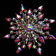 Vintage Starburst AB Rhinestone Pin Brooch ~ REDUCED!