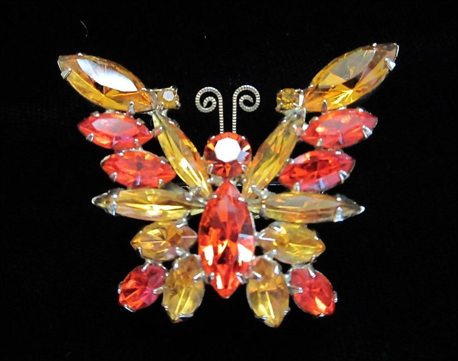 DRASTIC REDUCTION ~ Vintage Hyacinth Orange and Topaz Rhinestone Butterfly Pin Brooch ~ 1/2 OFF!