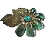 1/2 OFF!  Vintage Enamel and Molded Glass Flower Pin Brooch ~ REDUCED!!