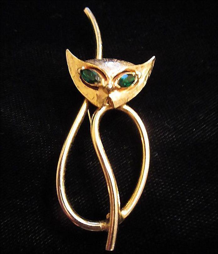 Vintage Emmons Modernist Cat Figural Pin Brooch