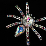 Vintage Rhinestone Spider Figural Pin Brooch ~ 1/2 OFF!!!