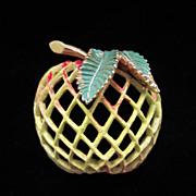 50% OFF ~ Vintage Jeanne Enamel Apple Figural Pin Brooch