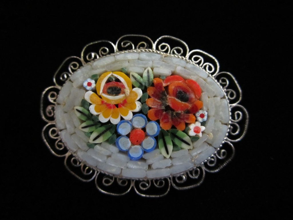 1/2 OFF!! ~ Vintage Micro Mosaic Floral Pin Brooch ~ REDUCED!!