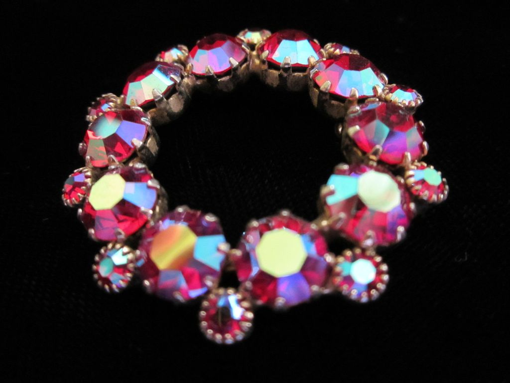 1/2 Off ~ Dazzling Vintage Raspberry AB Circular Pin Brooch ~ REDUCED!!