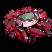 Vintage Pink and Red Rhinestone Pin Brooch