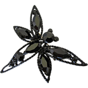 Vintage Jet Black Rhinestone Dragonfly Figural Pin Brooch ~ REDUCED!