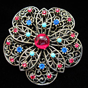 Vintage Glass Cab and Rhinestone Flower Pin Brooch ~ REDUCED!!