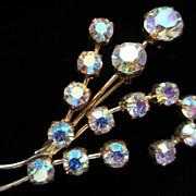 Vintage Austrian AB Rhinestone Flower Pin Brooch
