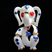 1/2 OFF!  Vintage Trifari 1968 Pet Series Enamel Elephant Figural Pin Brooch