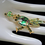 Vintage Rhinestone and Art Glass Roadrunner Bird Figural Pin Brooch