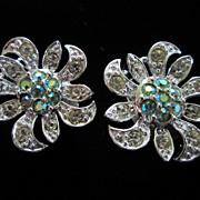 Vintage Sarah Coventry Rhinestone Flower Earrings ~ REDUCED!