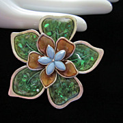 DRASTIC REDUCTION ~ Vintage Liz Claiborne Enamel Flower Pin Brooch ~ 1/2 OFF!!