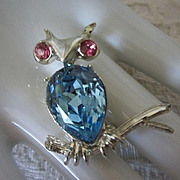 Vintage Dodds Rhinestone Owl Figural Pin Brooch ! REDUCED!