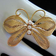 REDUCED! Vintage Napier Faux Pearl Butterfly Figural Pin Brooch ~ 1/2 OFF!
