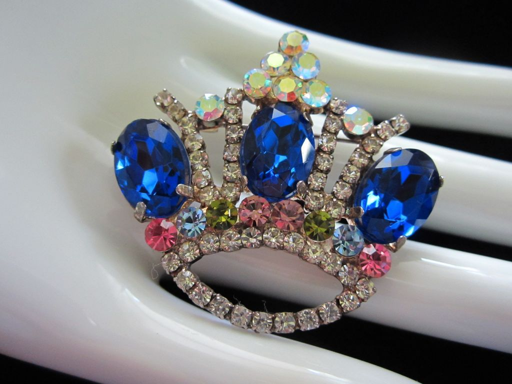 Vintage Dazzling Rhinestone Crown Pin Brooch ~ REDUCED!