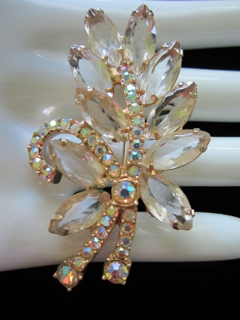 Vintage Champagne and Aurora Borealis Rhinestone Pin Brooch ~ REDUCED!