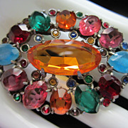 Vintage Vibrant Multi Colored Rhinestone Brooch Pin