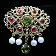 Vintage Ruby & Olivine Rhinestones with Dangling Faux Pearls Pin Brooch ~ REDUCED!