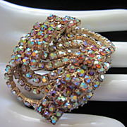 Vintage Dimensional Watermelon AB Rhinestone Brooch Pin ~ 1/2 OFF!!!