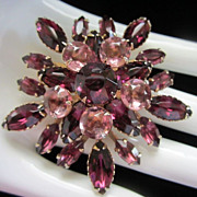 Vintage Amethyst and Light Rose Rhinestone Brooch Pin ~ 1/2 OFF!!!