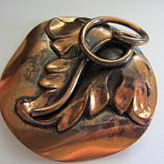 Vintage Copper Leaf Figural Pin Brooch Pendant ~ REDUCED!