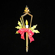 Vintage ART Christmas Enamel Street Lamp Figural Pin Brooch ~ REDUCED ~ 1/2 OFF!