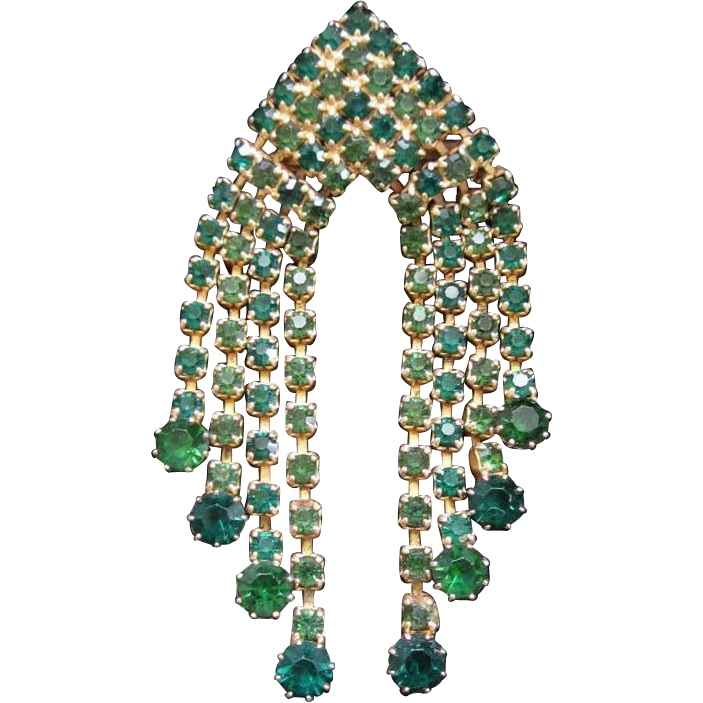 Vintage Emerald and Peridot Green Rhinestone Danglers Pin Brooch