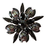 Vintage Large Jet Black Rhinestone and Hematite Brooch Pin