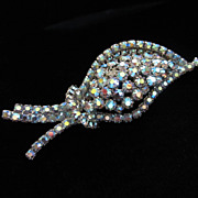 Vintage Unique Abstract Blue AB Rhinestone Brooch Pin ~ REDUCED!