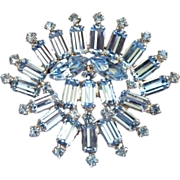 Brilliant Light Sapphire Blue Fan-Shaped Brooch Pin ~ REDUCED!