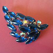 Glowing Capri Blue and AB Rhinestone Brooch Pin ~ REDUCED ~ 1/2 OFF!