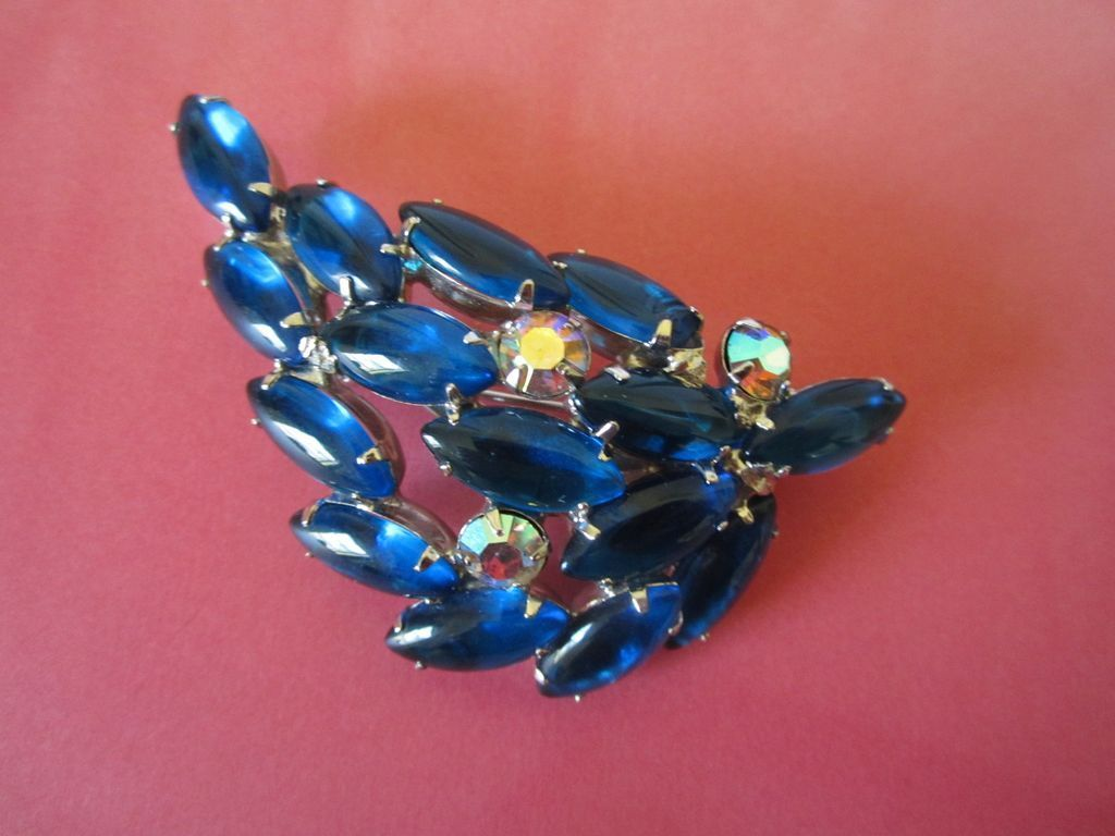 Glowing Capri Blue and AB Rhinestone Brooch Pin