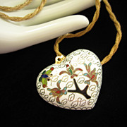 1/2 OFF!!! ~ Vintage Cloisonne' Puffy White Heart Necklace ~ REDUCED!!!