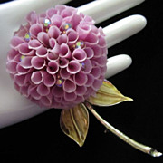 Dimensional Lilac Mum with AB Rhinestones Flower Pin Brooch ~ REDUCED!