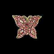Vintage Pink Rhinestone Butterfly Pin Brooch