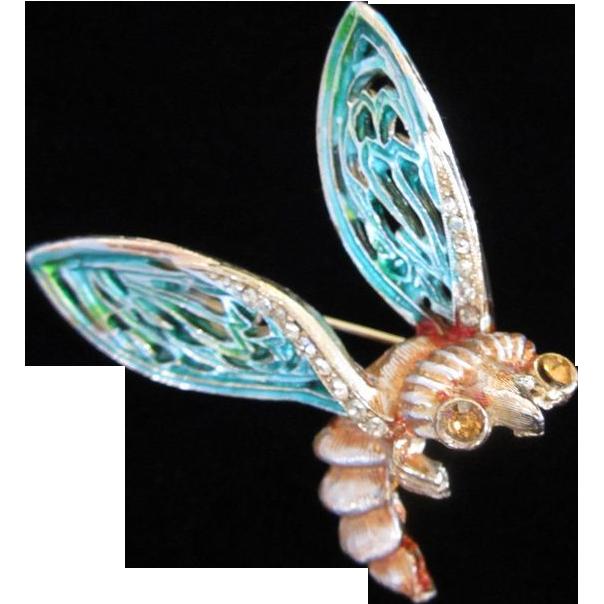 Whimsical Enamel & Rhinestone Bug Figural Pin Brooch ~ REDUCED ~