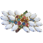 Vintage Milk Glass and Pastel Rhinestone Brooch