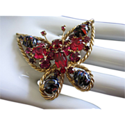 Beautiful Alice Caviness Rhinestone & Art Glass Butterfly Pin Brooch ~ REDUCED!