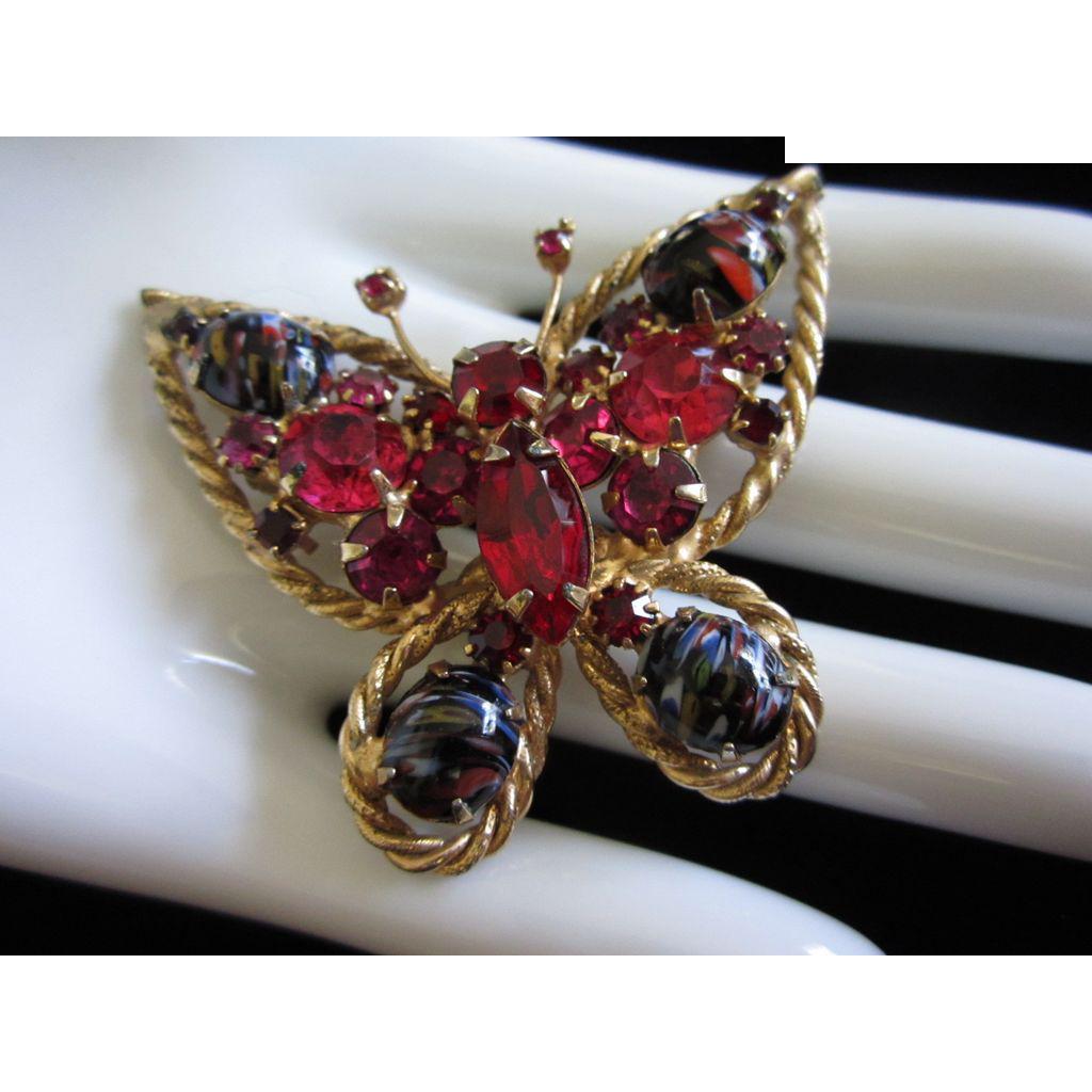 Beautiful Alice Caviness Rhinestone & Art Glass Butterfly Pin Brooch ~ REDUCED!