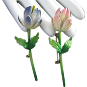 Made in Austria Enamel Flower Pins Brooches, Set of 2 ~ REDUCED!