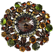 Signed AUSTRIA Dramatic Fall Colors Rhinestone Brooch Pin ~ REDUCED!