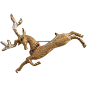 Signed Hedy Leaping Stag Holiday Pin Brooch