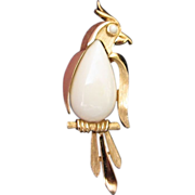 Elegant Trifari White, Gold Tone Bird Pin Brooch ~ REDUCED ~