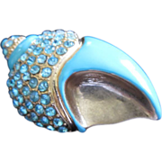 Turquoise Enamel and Aquamarine Rhinestone Seashell Pin Brooch, Signed ~ REDUCED!!