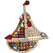 Vintage Multi Colored Rhinestone Sailboat Figural Pin Brooch ~ REDUCED!!