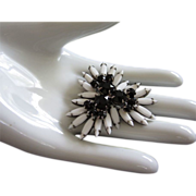 Vintage Milk Glass and Black Rhinestone Pin Brooch ~ REDUCED!